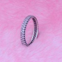 Inspiração de prata em anel com clear CZ 100% 925 Anéis esterlinos DIY Fazendo cabeças para Pandora Jóias Presente de Natal