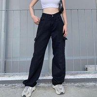 Women's Pants & Capris Vintage Chic Cargo Jeans Women Ins Retro Daily Harajuku Girl Denim Full Trousers High Waist Loose Stylish Femme #t3g