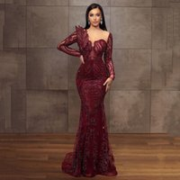 Burgundy Arabic Aso Ebi Lace Mermaid Evening Dresses Long Sleeves Beaded Appliques Sweep Train Formal Prom Party Gowns Second Reception