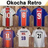 2000 2001 Beckham Okocha Mens Retro Soccer Jerseys Ronaldinho Ibrahimovic Leroy Home Blue Away White Football Shirt Uniforms