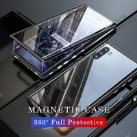 360 Full Cover Metal Double Side Tempered Glass Flip Phone Case For Samsung Galaxy S9 S10 Plus Note9 8 S10e Magnetic Adsorption Glass Phone