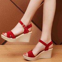 Frauen wedges Sandalen, Sommerabsätze, Knöchelschnalle Strap Platfortm Schuhe, dicker Boden, weibliche Schuhe schwarz, rot, beige 210619