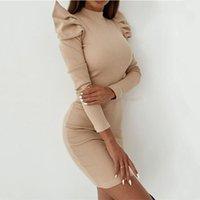 Осенняя женская повседневная база All-Match Трикотажное платье Sexy Slim Сумка сплошной слоеного рукава Bag Hip Mini Party Nightclub Платья