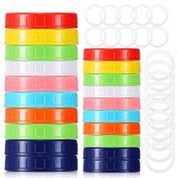 Mason Jar Lids Leak Proof Seal Screw Plastic Lid Universal Storage Cap Cover For Regular Wide Mouth Mug Cannings
