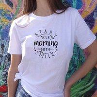 Commencez votre matin avec un sourire Mesdames Lettres T-shirt Tee-shirt Casual Esthétique Tee floral Funny Slogan Slogan Short Sleeve Femmes Top