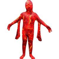 Для детей Хэллоуин Cosplay Magma Печатная одежда цельный костюм мультфильм забавный ужас розыгрыш герметичные детские мальчики и девочки G80DY58