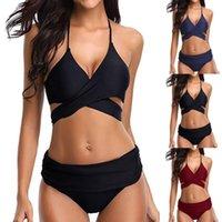 Women's Swimwear Women Bikini 2021 Swimsuit Micro Halter String Bikinis Solid Two Piece Push Up Side Tie Sets Ropa Mujer