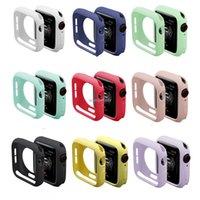 الملونة حالة سيليكون لينة ل أبل ووتش iwatch سلسلة 1 2 3 4 5 6 غطاء TPU حالات حماية كاملة 42 ملليمتر 38 ملليمتر 40 ملليمتر 44 ملليمتر الفرقة الملحقات