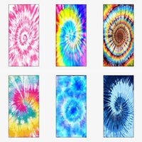 beach towel cushion bath towels Rainbow tie dyed beach blanket towel baby swaddle wraps double side blankets square quick drying G424P3E
