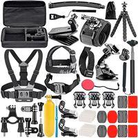 Gopro Accessories Set For Go Pro Hero 9 8 7 6 5 4 Kit 3 Way Selfie Stick, f-or Eken h8r   fo-r yi EVA Case VS77, Black Mount f-o-r Xiao Y-i 4k Mijia Cas-e and Sjcam Action Camera