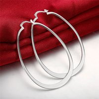 women's sterling silver plated Flat U earrings Hoop & Huggie GSSE001 fashion 925 silver plate earring gift 2196 Q2