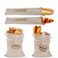 bunched bread Storage Bags Linen bread bag reusable French baguette drawstring bag Home Storage T2I52175