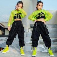 Jazzkostüm Hip Hop Girls Kleidung Grüne Tops Net Sleeve Black Hose Für Kinder Performance Moderne Tanz Kleidung Bühnenabnutzung
