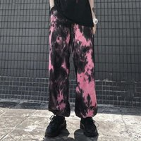 Primavera otoño mujeres pantalones de pierna ancha impresión bolsillos alta cintura suelta longitud completa pantalones hip hop femenino streetwear M204 Capris de las mujeres