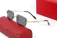 Occhiali da sole frameless forma rettangolare Uomo Donne Donna senza montatura Occhiali da sole in oro Metallo Telaio Eyewear Lunette Accessori moda ornamentale