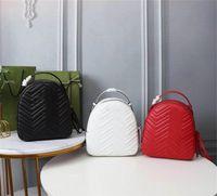 Designer Luxo Matelassé Marmont Bege Couro Feminino Mochila 476671 Daypack Leather Vermelho Feminina Semana Preto Tamanho: 22.5x26x11cm