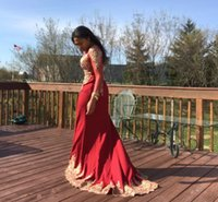 Long Red Mermaid Prom Dresses 2022 Gold Lace Applique Long Sleeves Celebrity Party Gown Luxury Beading vestidos de gala
