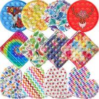 Fidget Toy Tie dye Cartoon Animal print pioneer desktop puzzle color printing American flag children Silicone Push Bubbles