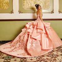 Classy Ball Gown Quinceanera Dresses Sweetheart Neck Beaded Appliqued Prom Dress Sweet 16 Party Wear Satin Sweep Train Sequined Masquerade Gowns