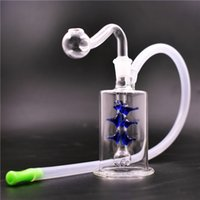 Mini Dab Rigs bong with glass oil burner pipe Recycler Bubbler honeycomb Percolator Water pipe with silicone tube hand size ash catcher