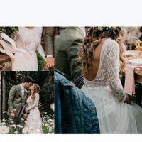 New Boho Lace Wedding Dresses 2020 Long Sleeves Backless Chiffon Bohemian Bridal Gowns Bride Dress Vestido De Noiva Robe De Mariee