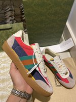 Moda Tasarımcısı En Kaliteli Rahat Baskılı Portofin Yama Nakış Ayakkabı Deri Kauçuk Tek Sneakers Erkekler Kadınlar için Boyutu 0704
