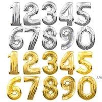 32-дюймовый серебряный золотой фольга Номер воздушных шаров Цифровые Глобос День рождения Свадьба Украшения Отели Баллоны Детские Душевые Поставки DWD6436