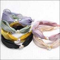 Headbands Jewelry Jewelry Fashion Summer Headwear Headband For Women Soft Fresh Lace Gauze Hairband Top Quality Pearls Knot Hair Aessories D