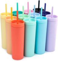 16 Unzen Acryl Skinny Tumblers mit Deckel Strohhalme Kunststoff Tumbler Doppel Wandmilch Kaffeetassen Matte Candy Colors Slim Cup für Reisen FY4409