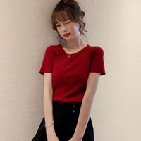Women's T-Shirt Summer Bow Lace Knit Sweater Short-Sleeved Solid Bottoming Shirt Top