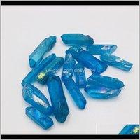 Arti e Arti, Artigianato Regali Donne Giardino domestico Consegna 2021 6 PZ DROPS Natural Blue Blue Titanium Aura Gemstone Gemstone Gemstone Guarigione Chakra Punto di cristallo per