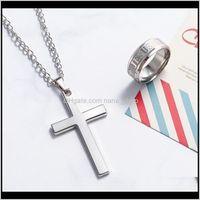 & Pendants Jewelry Drop Delivery 2021 Classic Cross Design Necklaces Pendant Christian Jesus Religion Sier Color Gold Black Chain Link Neckla