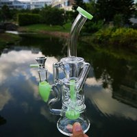 Milky Green Wholesale Hookahs Turbine Perc Glass Bongs Fab Egg Double Recycler Oil Dab Rigs 14mm Female Joint With Bowl Water Pipes