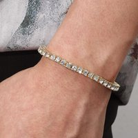 Link, Chain Men Bracelet Couple Specially Designed For Gold Color Inlaid Cubic Zirconia Hip Hop Accessories Prom Party