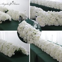 60 55CM White Artificial Flower Row With Plastic Green Mesh Base Wedding Props Decoration Window Event Party Table Centerpieces A0526