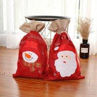 Sacs-cadeau de cordon de Noël Sacs-cadeau Bonhomme de neige Santa Sanack Sac à dos Noël Nouvel An Fournitures Fournitures 55 * 32cm DWB11204