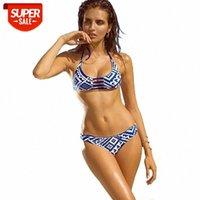 Geometrischer Druck Brasilien Bikini Göttin Weibliche Badeanzug Brasilianische Mini String Bandage Schwimmabnutzer Strand Frauen Badeanzug DK48 # RW2I