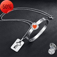 Couple Lovers Jewelry Love Heart Lock Bracelet Stainless Steel Bracelets Bangles Key Pendant Necklace Valentine's Day Gifts