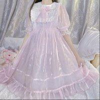 Kadın Elbise Yaz Lolita Tatlı Cosplay Gençler Peter Pan Yaka Sevimli Kawaii Yumuşak Kız Pembe Puf Kol Fırfır Prenses Elbiseler