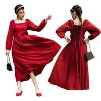Французский стиль женщины ретро старинные ренессанс кружевные средневековый костюм элегантное длинное платье викторианский бальный платья платья красные Vestidos