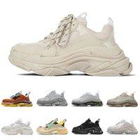 2021 Venta al por mayor Plate-Forme Sneakers Triple S para Casual Papá Zapato Hombres Mujeres Flat 17FW Paris Blanco Blanco Beige Lujos de Lujos de Lujo Zapatos Tamaño 36-45