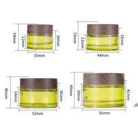 Оливковые зеленые стекла косметические банки пустые макияж образец контейнеров бутылки с деревянным зерном герметичные пластиковые крышки BPA бесплатно для лосьона, FWD8931