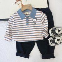 Desgaste de los niños 2021 Polo de primavera Camisa de rayas de niños Camiseta de solapa de moda estilo coreano de manga larga