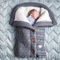born Baby Winter Warm Sleeping Bags Kids Toddler Knit Button Soft Fleece Swaddle Blanket Stroller Unisex Wrap for Boys Girls 210910