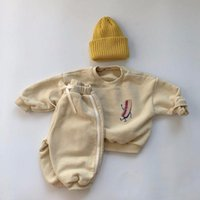 Clothing Sets 2021 Autumn Winter Baby Boys And Girls Loose Casual Sweatshirt Pants 2 Piece Thick Fleece Children's Suit