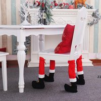 Christmas Table Foot Cover Santa Claus Leg Chair Covers Lovely Tables Decor Legs Covering Stocking Santas Boots Hotel Restaurant HWF9810