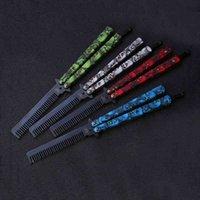Kuaför Paslanmaz Çelik Kelebek Eğitim Combs Vintage İskelet Katlanır Bıçak Uygulama Saç Fırçalar Salon Araçları UN777