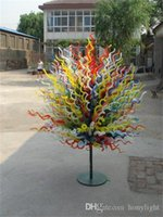 في مهب الهواء الطلق حديقة زخرفة الزجاج الفن الدائمة الطابق مصابيح زهرة متعددة الألوان الأشجار النحت فن النحت اليد الزجاج للبيع