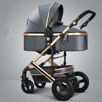 Cochecitos # Luxury Luxury Baby Stroller 3 en 1 Portátil Alto Paisaje Reversible Mamá Pink Carriage Travel PRAM