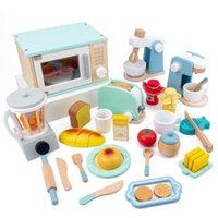 QWZ Ahşap Simülasyon Mutfak Oyuncak Seti Oyun Evi Erken Eğitim Oyuncak Ekmek Makinesi Mikrodalga Fırın Çocuk Noel Hediyesi H1011
